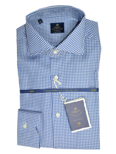 Luigi Borrelli Dress Shirt ROYAL COLLECTION White Royal Blue Houndstooth