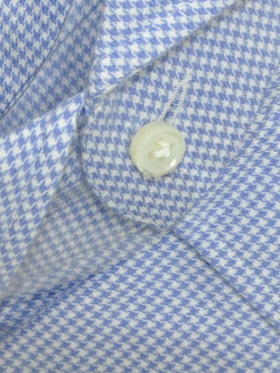 Luigi Borrelli Dress Shirt White Blue Houndstooth
