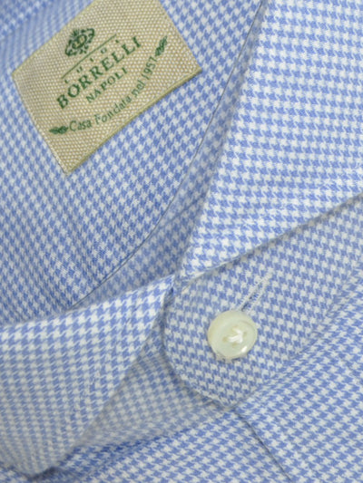 Luigi Borrelli Dress Shirt White Blue Houndstooth 40 - 15 3/4