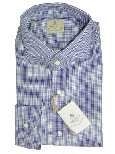 Luigi Borrelli Dress Shirt White Navy Check
