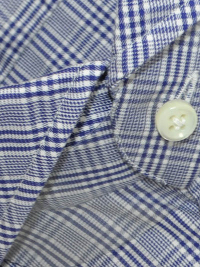 Luigi Borrelli Dress Shirt White Navy Check Plaid