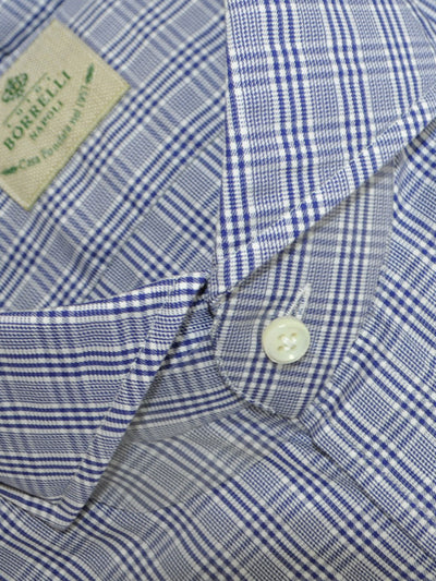 Luigi Borrelli Dress Shirt White Navy Check Plaid 43 - 17