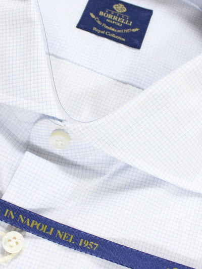 Borrelli Shirt ROYAL COLLECTION White Navy Grid