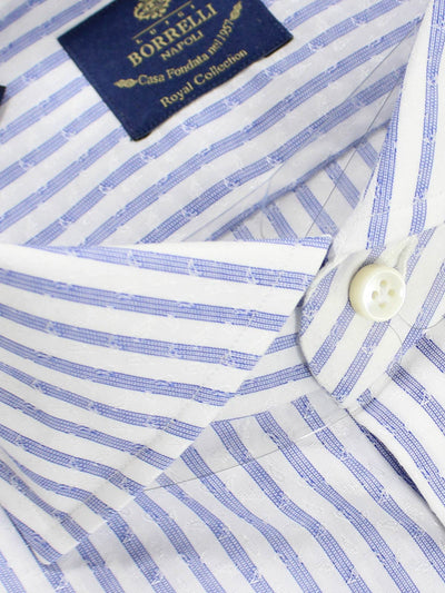 Luigi Borrelli Dress Shirt ROYAL COLLECTION White Navy Stripes