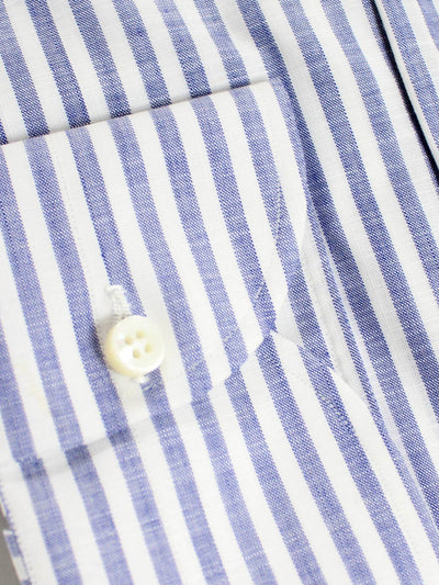 Luigi Borrelli Dress Shirt ROYAL COLLECTION White Navy Striped Design 41 - 16
