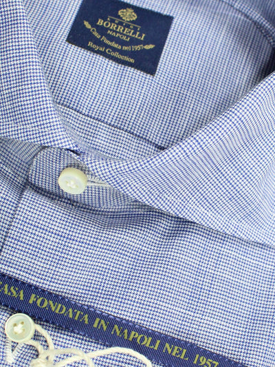 Luigi Borrelli Dress Shirt ROYAL COLLECTION - White Navy Mini Houndstooth 38 - 15 SALE