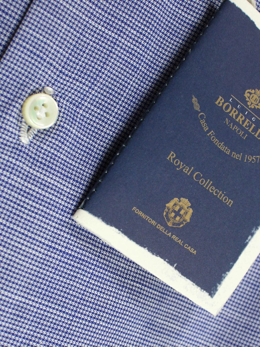 Luigi Borrelli Dress Shirt ROYAL COLLECTION - White Navy Mini Houndstooth 38 - 15