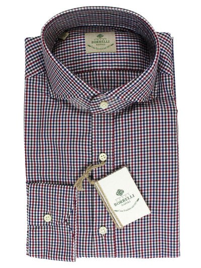 Luigi Borrelli Shirt White Navy Purple Check
