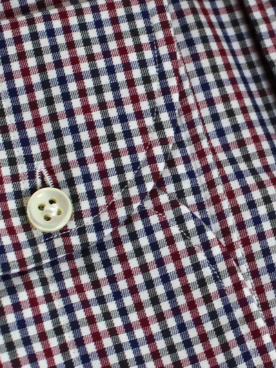 Borrelli Shirt White Navy Purple Check