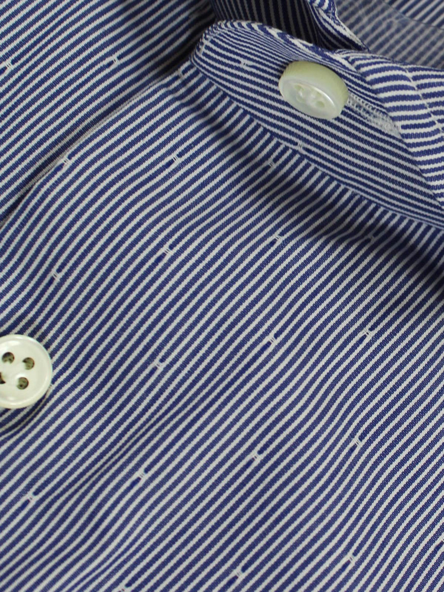 Borrelli Shirt White Navy Stripes