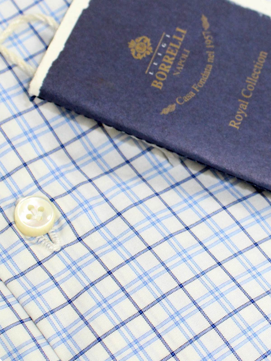 Borrelli Shirt ROYAL COLLECTION White Blue Navy Tattersall