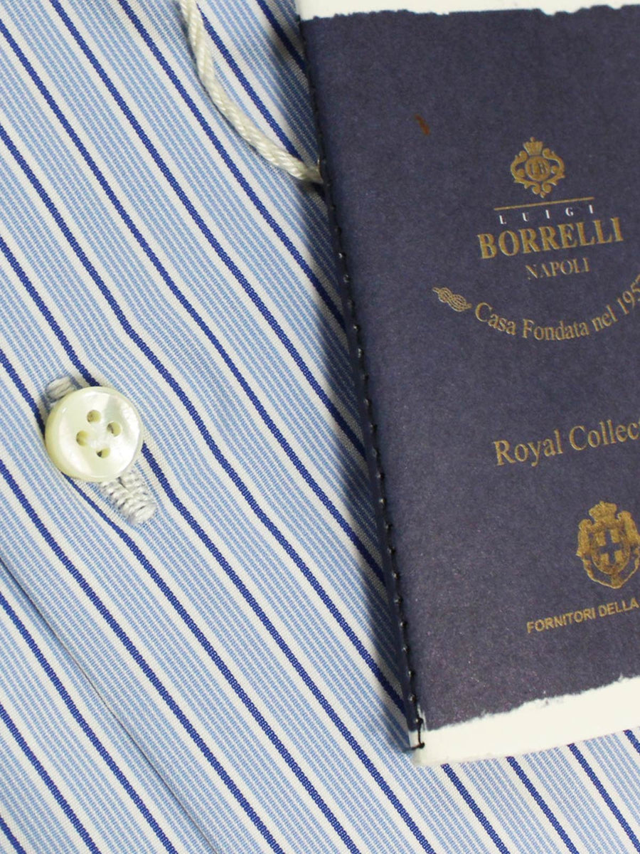 Luigi Borrelli Dress Shirt ROYAL COLLECTION White Blue Navy Stripes 42 - 16 1/2