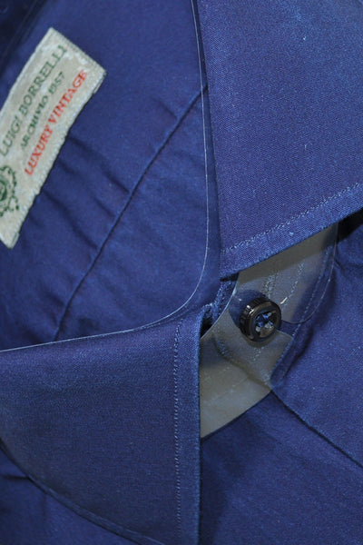 Luigi Borrelli Sport Shirt Lapis Blue Luxury Vintage S SALE
