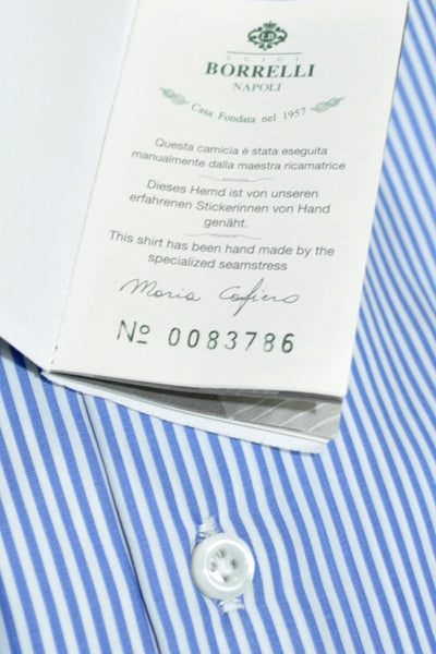 Luigi Borrelli Shirt ROYAL COLLECTION White Navy Stripes Regular Fit 41 - 16