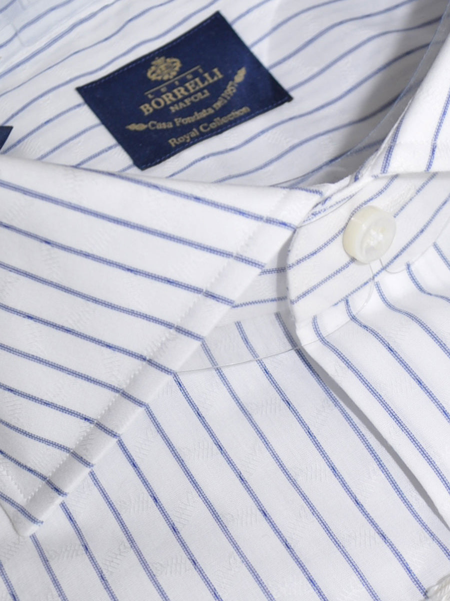 Luigi Borrelli Shirt Royal Collection White Navy Stripes 38 - 15