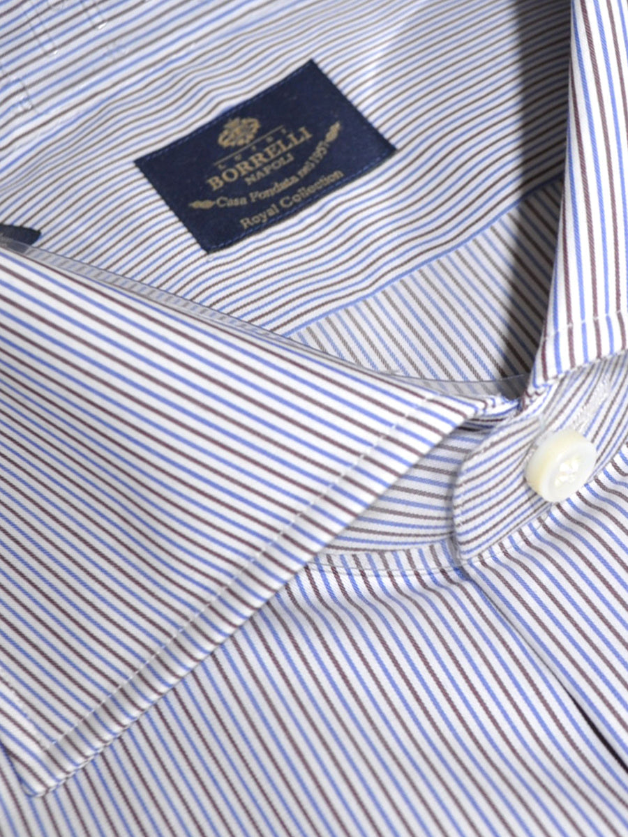 Luigi Borrelli Shirt Royal Collection White Navy Brown Stripe