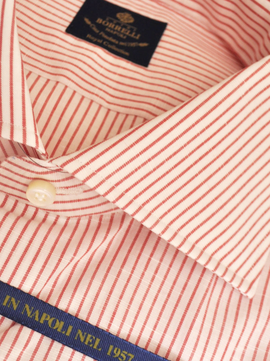 Luigi Borrelli Shirt Royal Collection White Red Stripes Linen Cotton 38 - 15 REDUCED - SALE