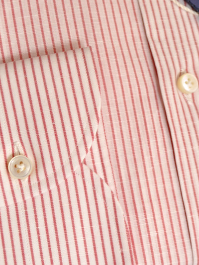 Luigi Borrelli Shirt Royal Collection White Red Stripes Linen Cotton 38 - 15 SALE