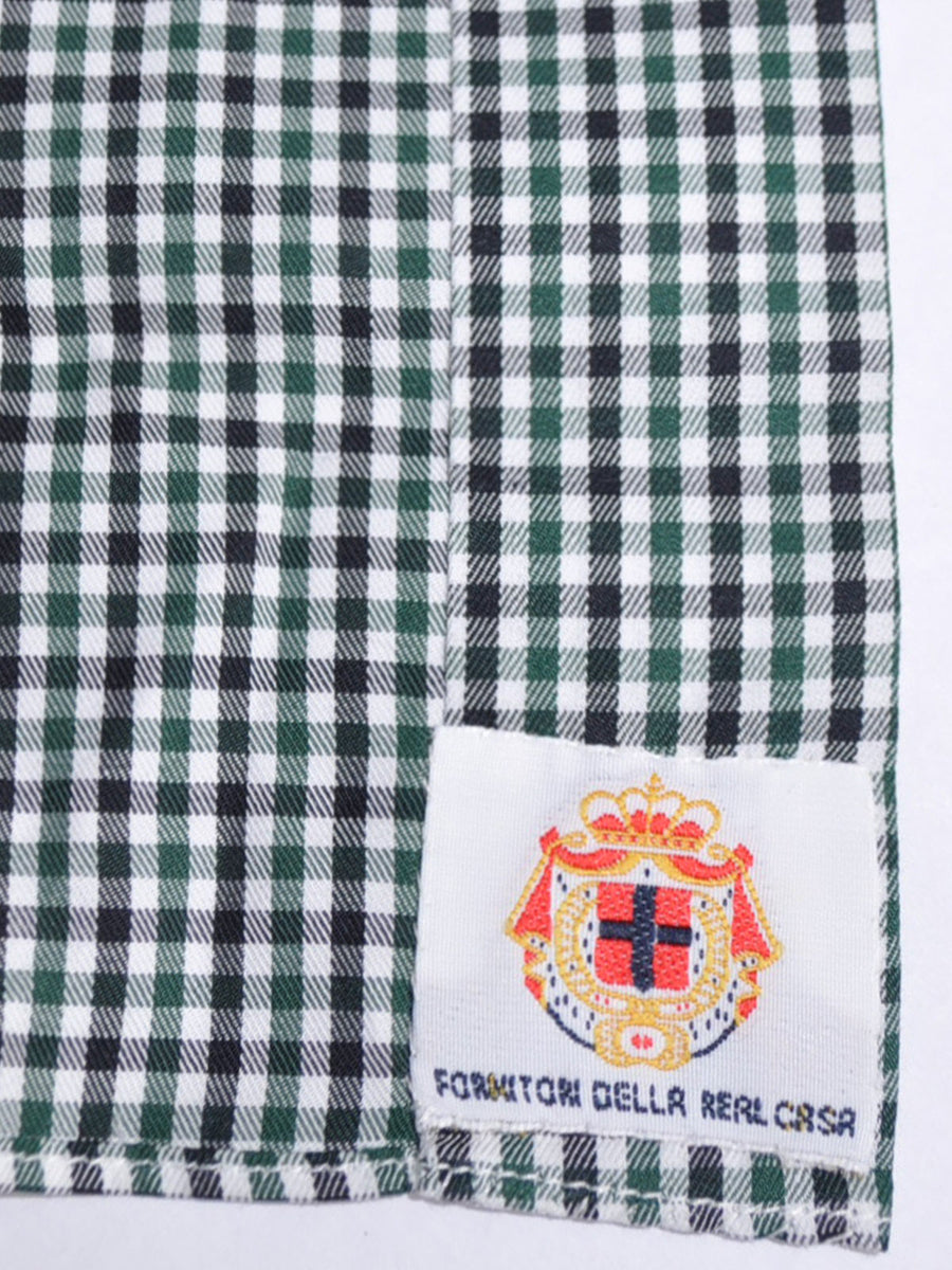Luigi Borrelli Dress Shirt Royal Collection White Green Black Check 40 - 15 3/4 SALE