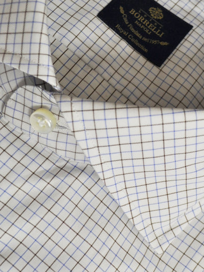 Luigi Borrelli Shirt Royal Collection White Blue Brown Check
