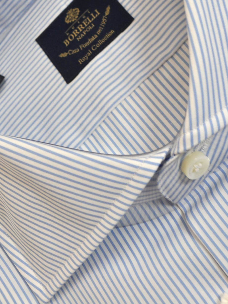 Borrelli Dress Shirt ROYAL COLLECTION White Blue