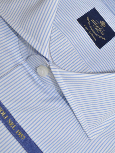 Luigi Borrelli Dress Shirt ROYAL COLLECTION White Blue Stripes 44 - 17 1/2 SALE