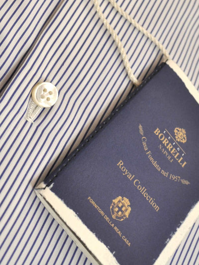 Luigi Borrelli Dress Shirt ROYAL COLLECTION White Navy Stripes 40 - 15 3/4