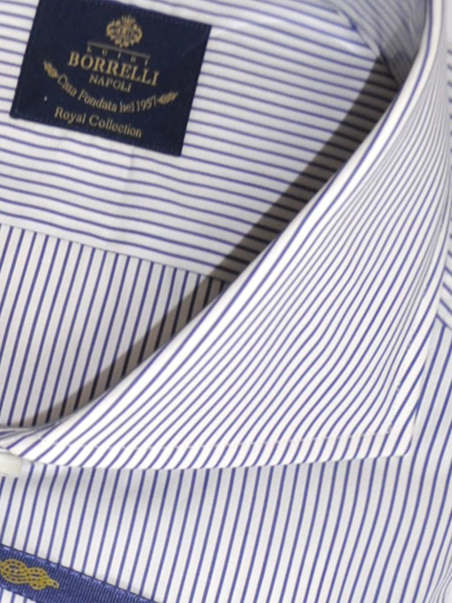 Borrelli Dress Shirt ROYAL COLLECTION White Navy Stripes