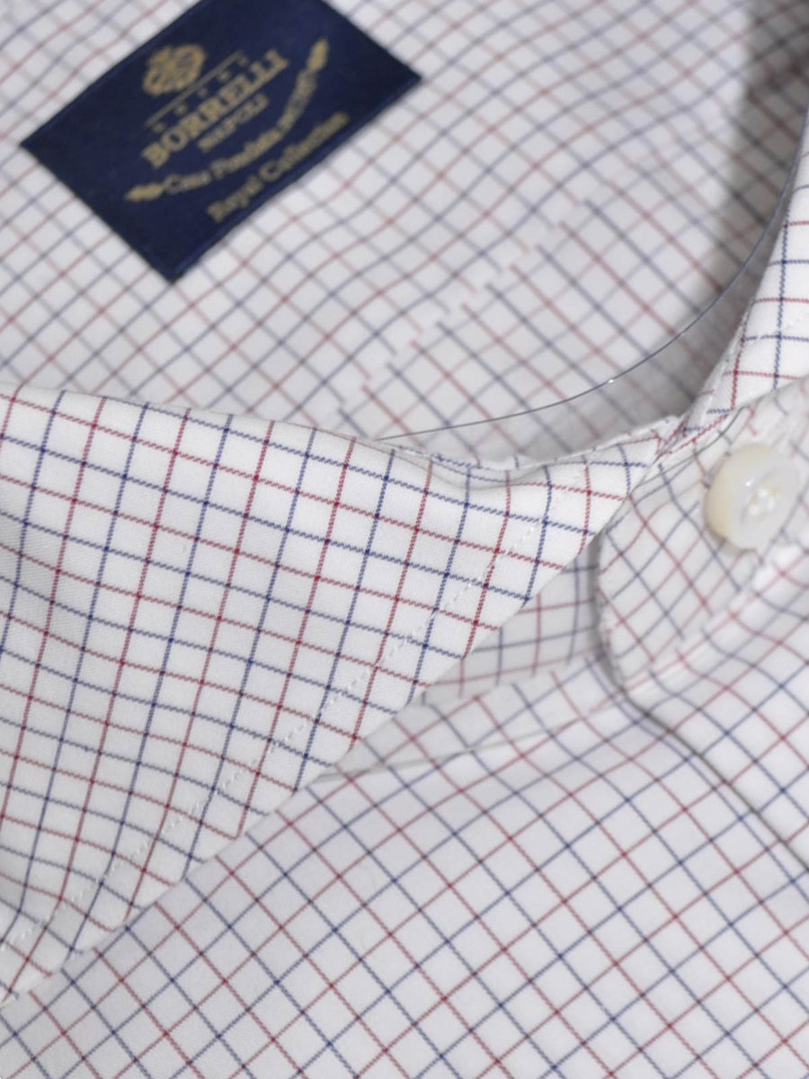 Luigi Borrelli Shirt Royal Collection White Navy Burgundy Check
