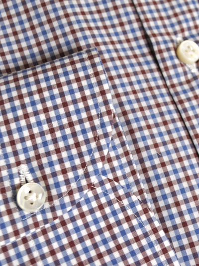 Dress Shirt ROYAL COLLECTION White Navy Maroon Check