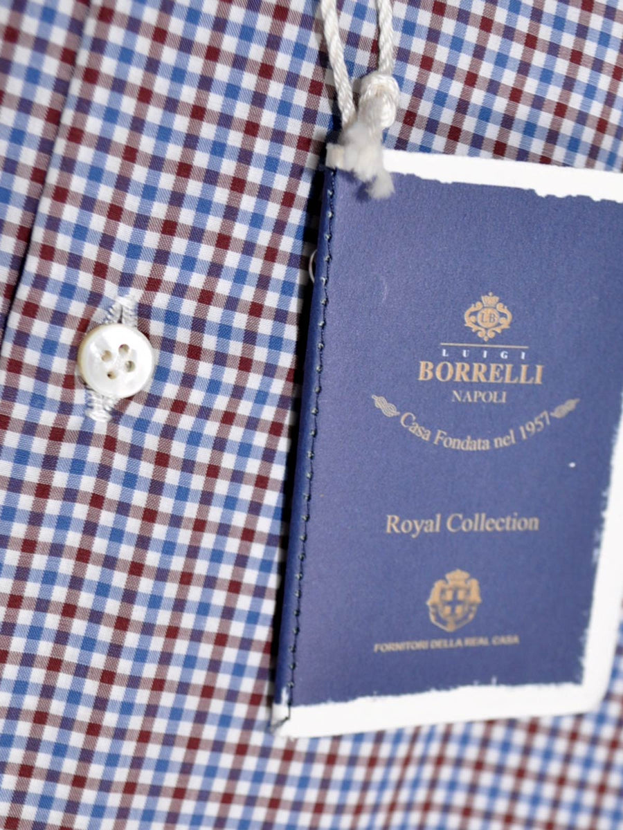 Luigi Borrelli Shirt ROYAL COLLECTION White Navy Maroon Check 41 - 16 SALE