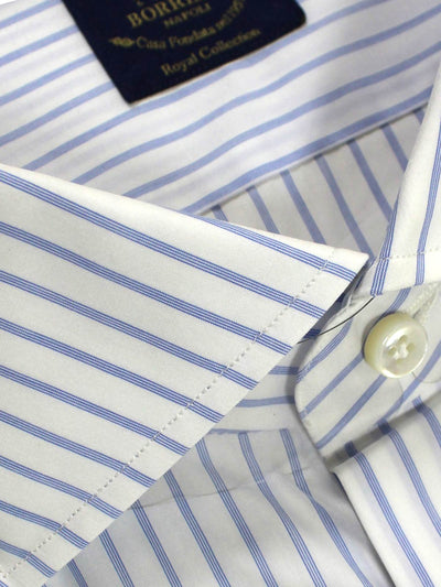 Borrelli Dress Shirt ROYAL COLLECTION White Royal Blue