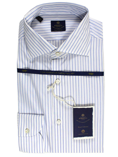 Luigi Borrelli Dress Shirt ROYAL COLLECTION White Royal Blue
