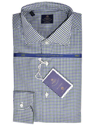 Luigi Borrelli Dress Shirt ROYAL COLLECTION Classic White Navy Green Check