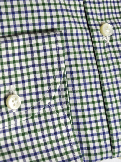 Luigi Borrelli Dress Shirt ROYAL COLLECTION White Navy Green Check 41 - 16 SALE