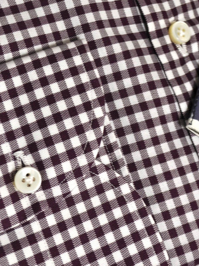 Luigi Borrelli Dress Shirt ROYAL COLLECTION White Maroon Check