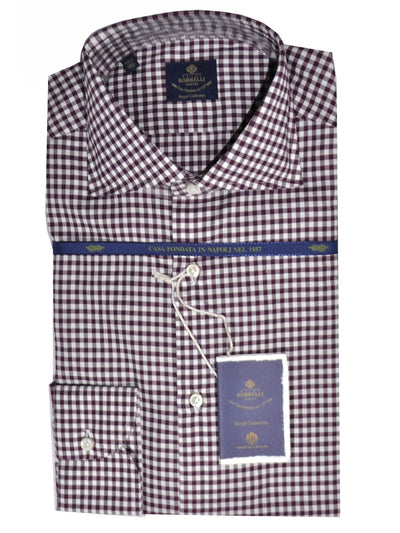Borrelli Shirt ROYAL COLLECTION White Maroon Check