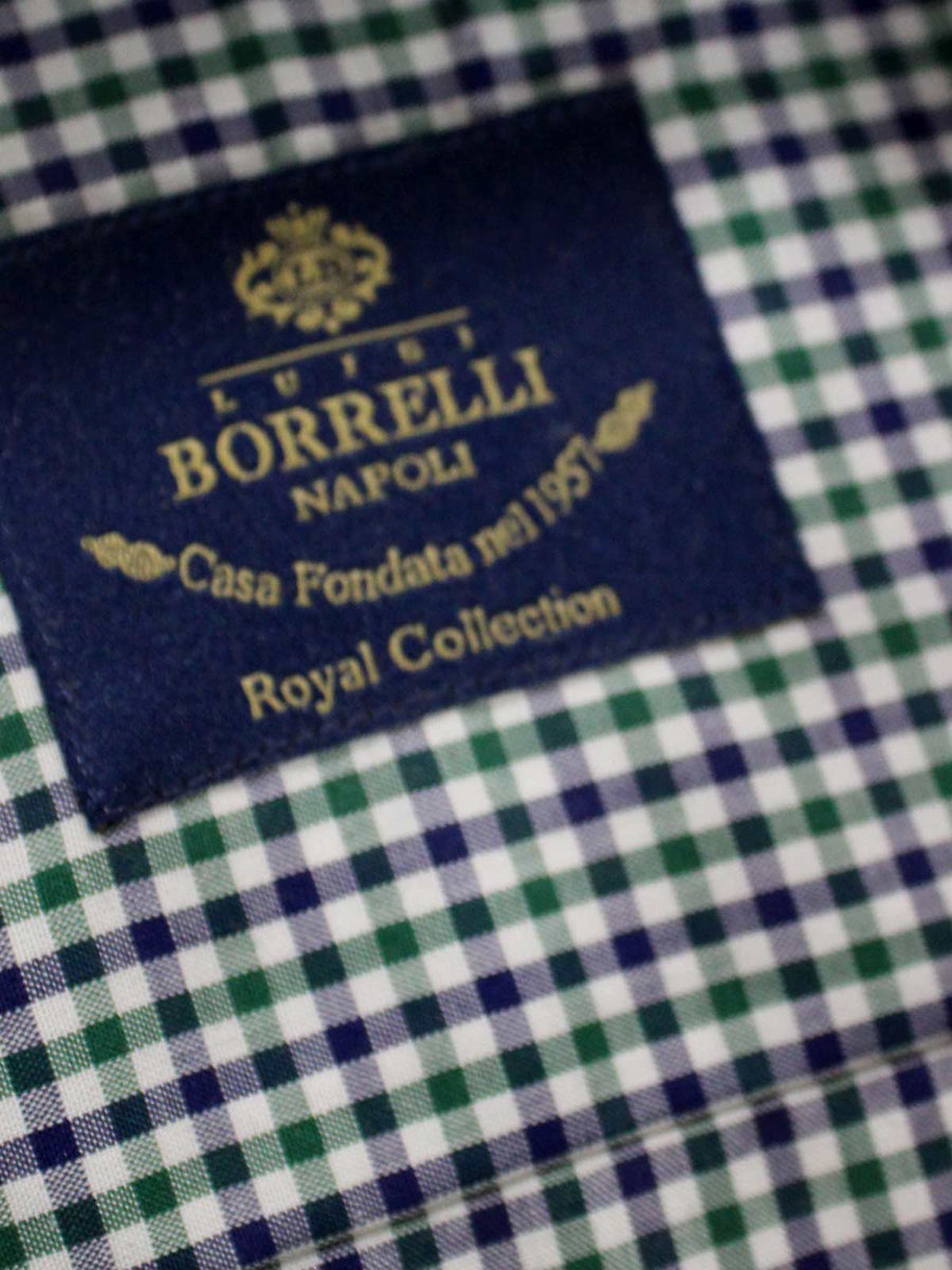 Borrelli Dress Shirt ROYAL COLLECTION White Navy Green Mini Check