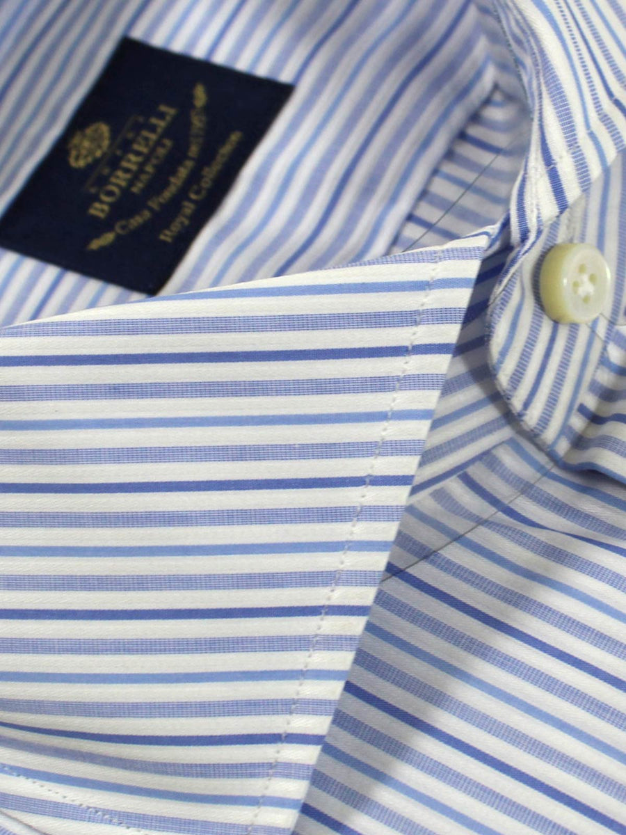 Luigi Borrelli Dress Shirt Royal Collection White Blue Royal Blue Stripes 38 - 15