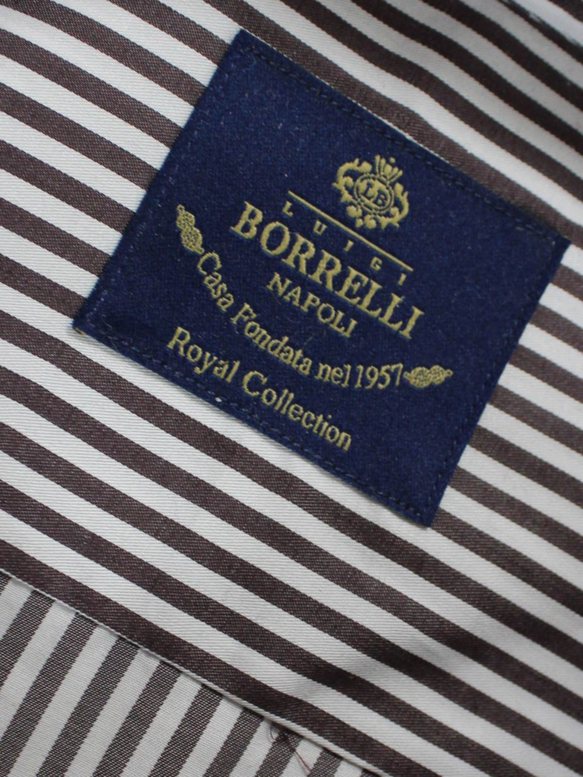 Luigi Borrelli Dress Shirt ROYAL COLLECTION White Brown Stripes 42 - 16 1/2