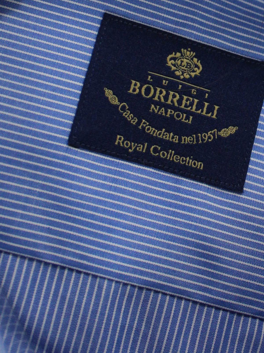 New Luigi Borrelli Dress Shirt ROYAL COLLECTION - Blue White New