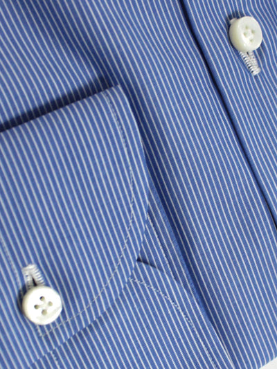 Luigi Borrelli Dress Shirt ROYAL COLLECTION - Blue White Stripes 41 - 16