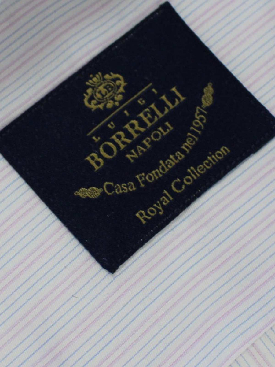 Luigi Borrelli Shirt Royal Collection White Pink Blue Stripes