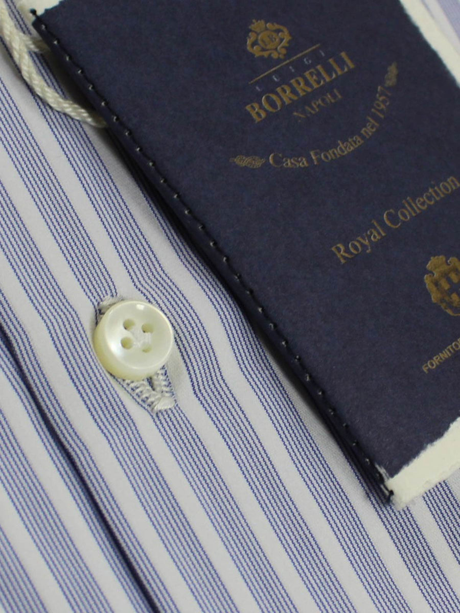 Borrelli Shirt Royal Collection White Navy Multiple Stripes