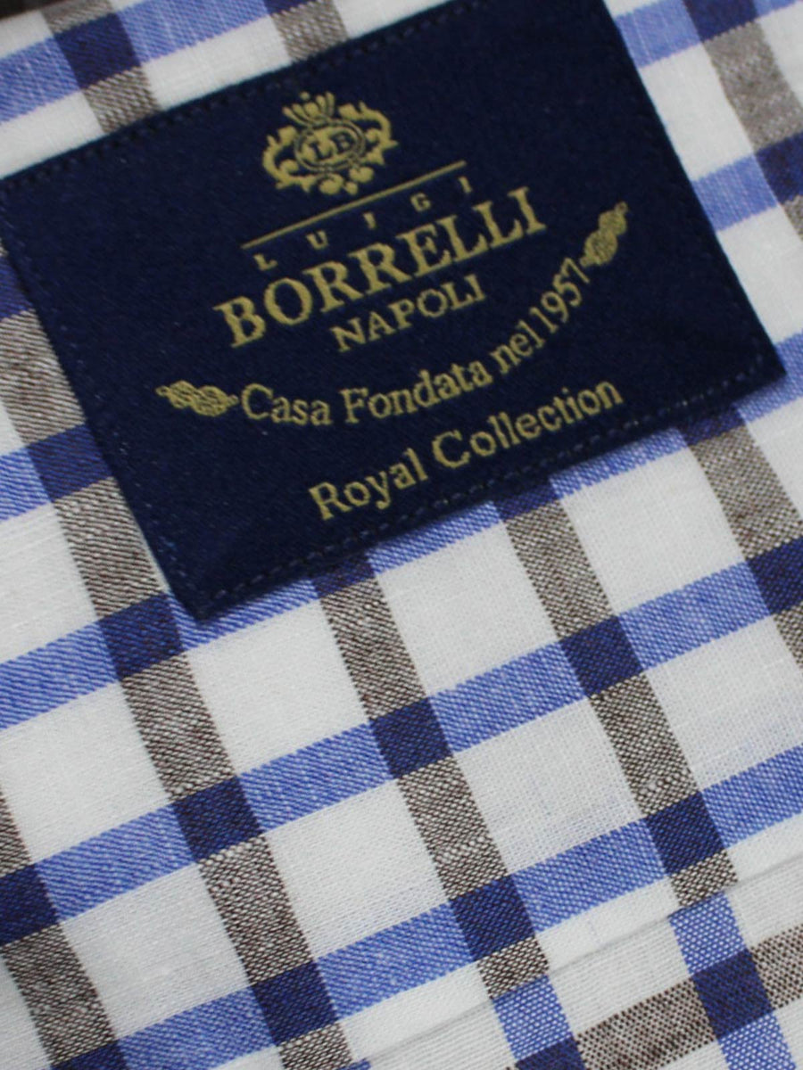 Luigi Borrelli Shirt Royal Collection White Lapis Blue Brown