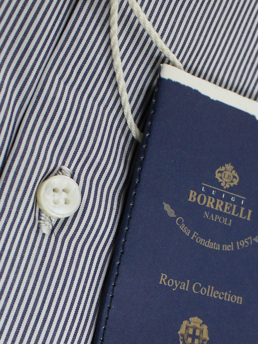 Luigi Borrelli Shirt Royal Collection White Navy Stripes 39 - 15 1/2