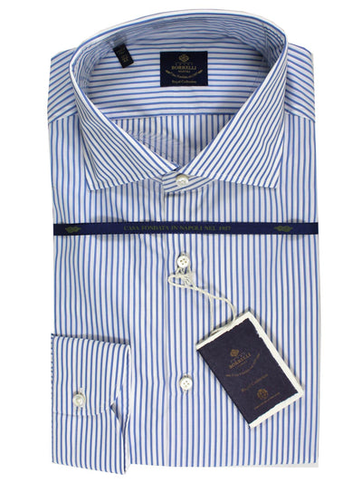 Luigi Borrelli Dress Shirt White Navy Stripes 44 - 17 1/2 ROYAL COLLECTION