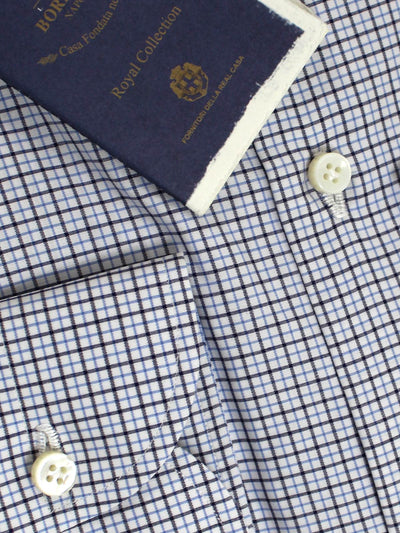 Luigi Borrelli Shirt ROYAL COLLECTION - White Blue Black Tattersall Check 40 - 15 3/4 SALE