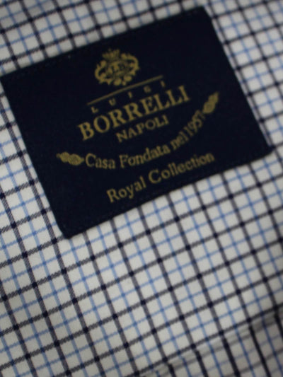Borrelli Dress Shirt ROYAL COLLECTION - White Blue Black