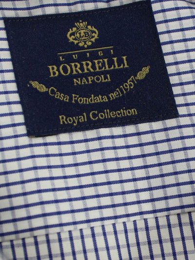 Luigi Borrelli Dress Shirt ROYAL COLLECTION - White Navy Check 39 - 15 1/2 SALE